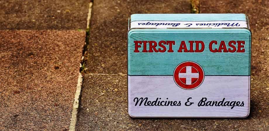 dental emergencies first aid kit on sidewalk