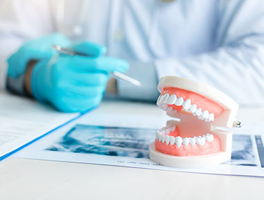 a dentist going over the filling process with a patient